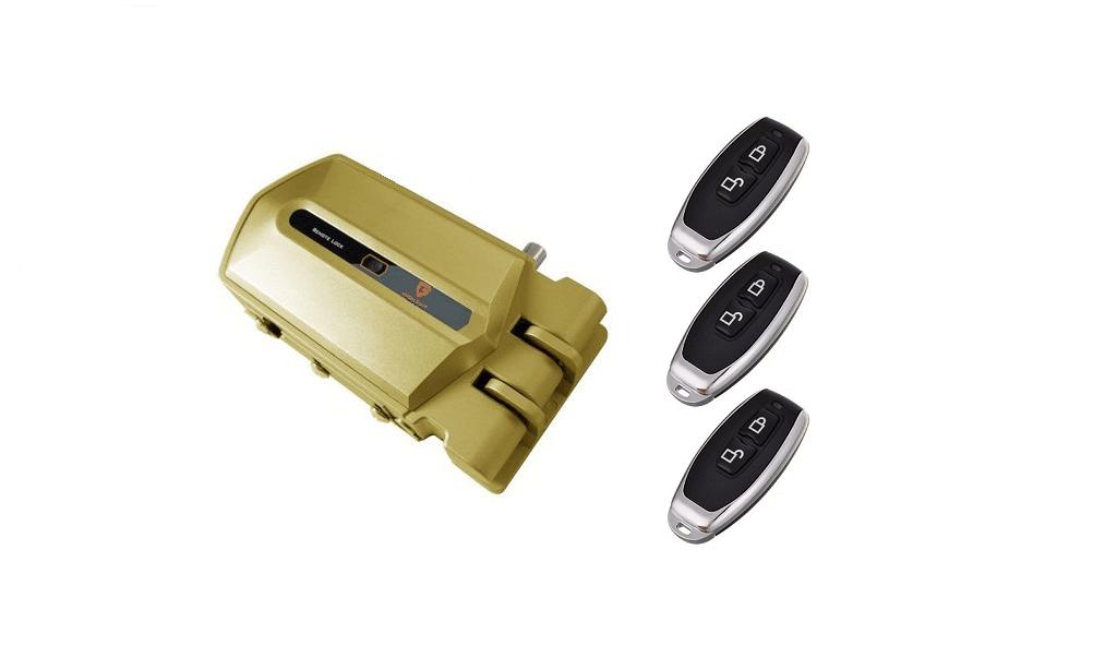 cerradura invisible con alarma dorada 3 mandos
